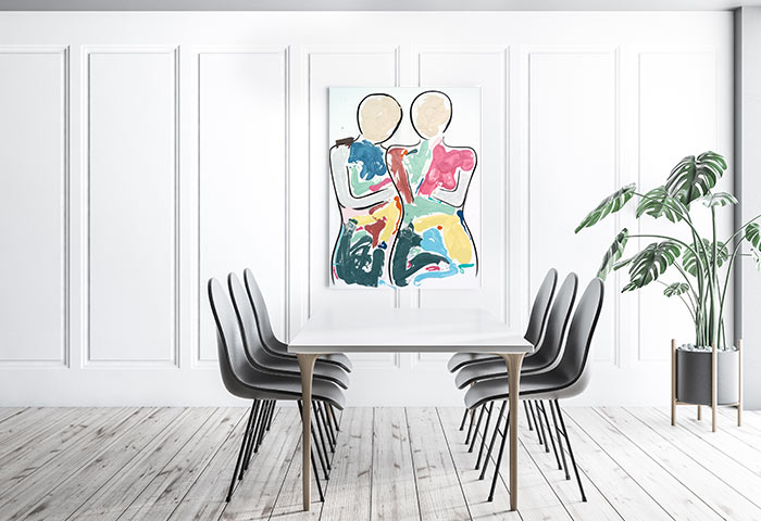 sarah jane colourful art - bodyline bold i painting in white contemporary dining room