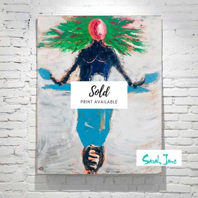 sarah-jane-painting-sold---Freedom-painting-modern-abstract-woman-on-scooter---bright-colours