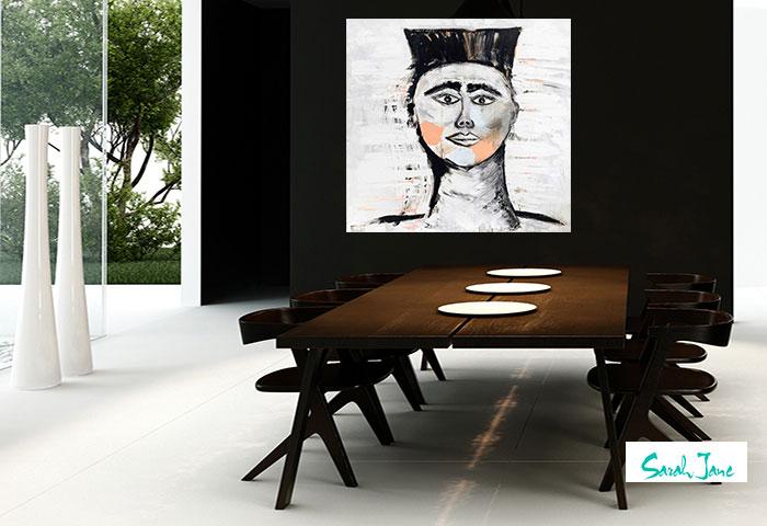 sarah jane paintings - australian artist warrior painting in contemporary dining room