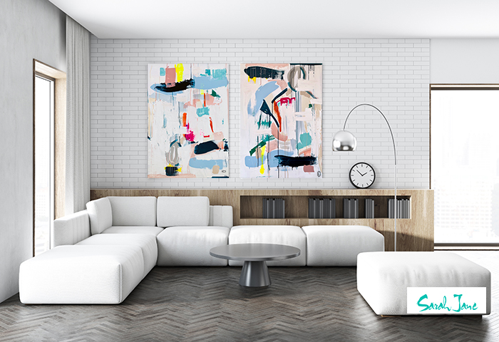 sarah jane paintings modern abstract - reengage i and reengage ii in a modern living room