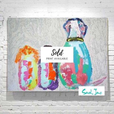 sarah-jane-paintings-sold---Modern-Abstract-Painting-Kids-with-dog---one-of-us