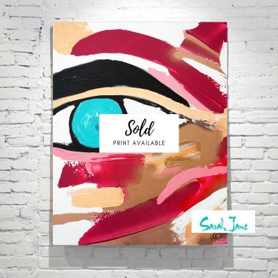 sarah-jane-paintings-sold---being-watched-painting-abstract-face-blue-eye---warm-colour-tones