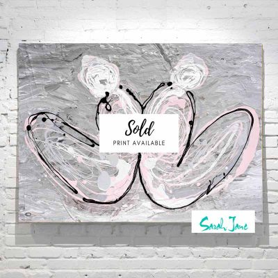 sarah-jane-paintings-sold---distance-painting-modern-abstract-people-sitting-back-to-back---grey-and-pink-colour-tones