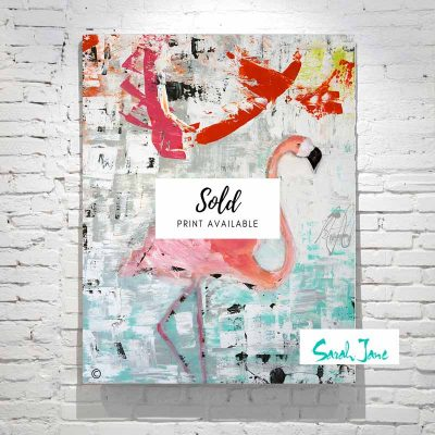 sarah-jane-paintings-sold---feathers-painting-modern-abstract-flamingo-colourful