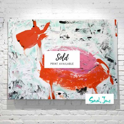 sarah-jane-paintings-sold---goatey-painting-modern-abstract-goat-colourful