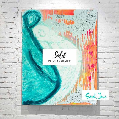 sarah-jane-paintings-sold---loving-duo-painting-modern-abstract-couple-hugging---fluro-colours