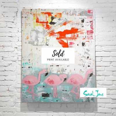 sarah-jane-paintings-sold---on-the-move-contemporary-flamingos-painting