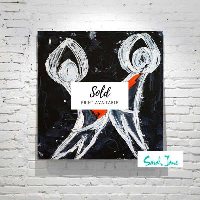 sarah-jane-paintings-sold---playful-pair-modern-abstract-people-playing---navy-white-orange-colour-tones