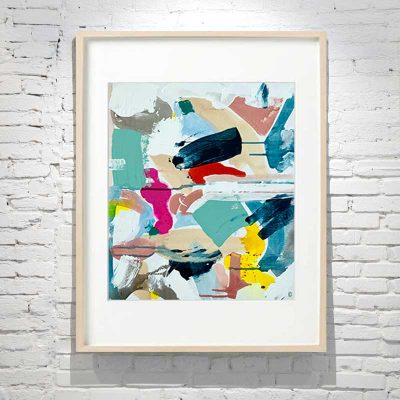 small framed painting abstract bright colours titled reengage iii by australian artist sarah jane - birch frame