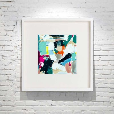 small framed painting abstract bright colours titled reengage iv by australian artist sarah jane - white frame