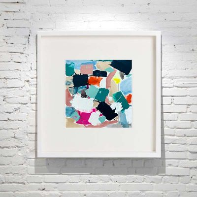 small framed painting abstract bright colours titled reengage v by australian artist sarah jane - white frame