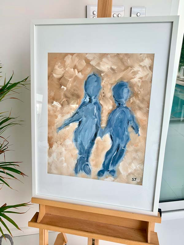 small framed paintings - family love mother son titled time on my hands ii by sarah jane artist