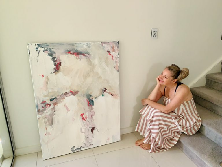 soft bedroom art by sarah jane titled elctric dreams an abstract painting