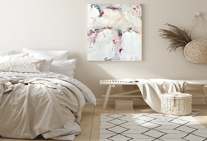 soft modern bedroom beautiful abstract art by sarah jane titled electric dreams