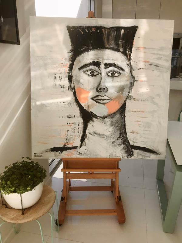 statement piece painting square - warrior by sarah jane artist