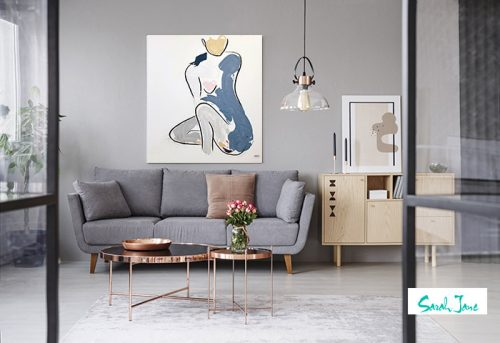 styled-contemporary-living-room---modern-figurative-painting-mother---bodyline-xii---australian-artist-sarah-jane