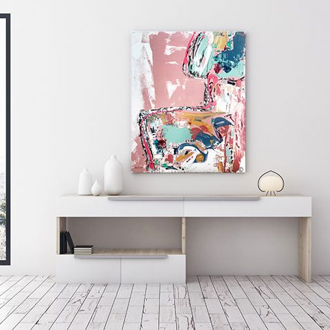 stylish modern home office with a colourful abstract painting titled no nonsense by australian artist sarah jane