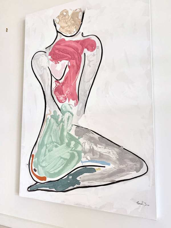 trendy original painting of a multicoloured woman by australian artst sarah jane titled bodyline bold iii