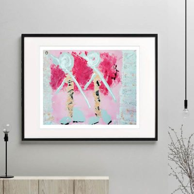 tribal people outback australia figurative print modern abstract titled wanderers I framed or unframed by Sarah Jane Australian Artist