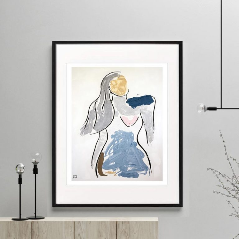 confident woman figurative print modern abstract titled bodyline v framed or unfarmed by sarah jane australian artist