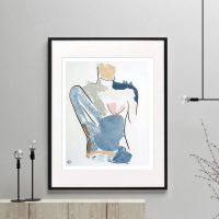 woman figurative print modern abstract bodyline I framed or unframed by sarah jane australian artist