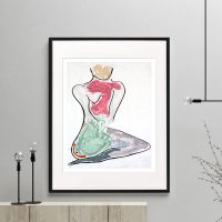 woman kneeling bright colours print modern abstract titled bodyline iii by sarah jane australian artist framed or unframed