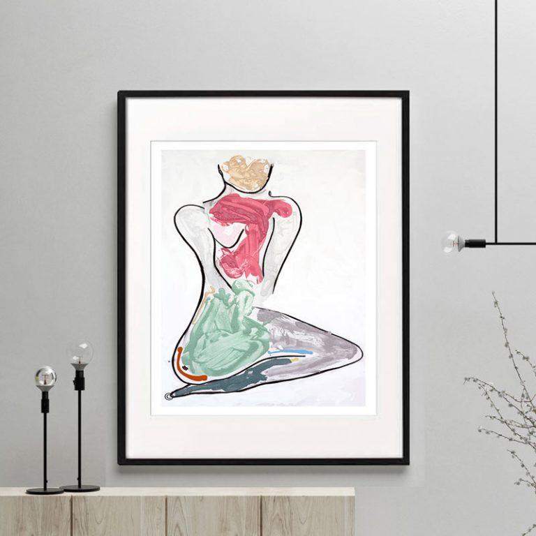 woman kneeling bright colours print modern abstract titled bodyline iii by sarah jane australian artist framed or unframed