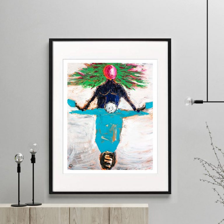 woman on scooter print contemporary - titled freedom i by Sarah Jane Australian Artist in a choice of Framed or Unframed