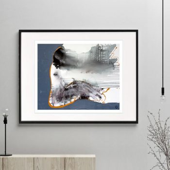 woman sitting print modern abstract navy grey tones titled wind of change i framed or unframed by sarah jane australian artist